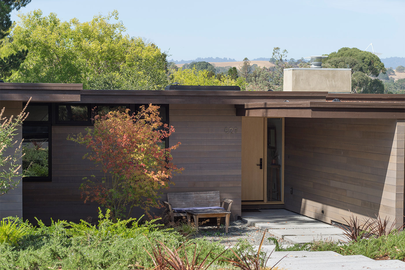 Custom home entry with wood door of home design and construction near Palo Alto and Stanford University
